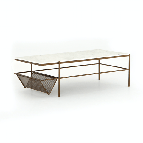Felix Coffee Table made of white marble and iron in antique brass finish