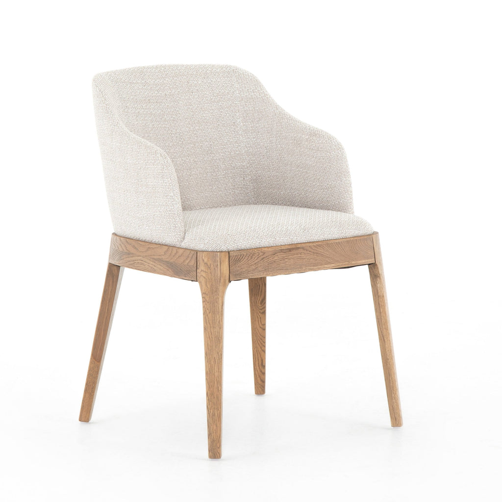 Foster Dining Chair white performance fabric honey brown solid oak legs transitional style front view