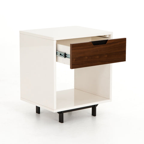 Arlo Nightstand white wood brown metal black