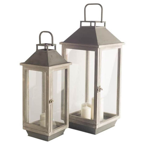 Fresno Lantern Set of 2 metal wood brown