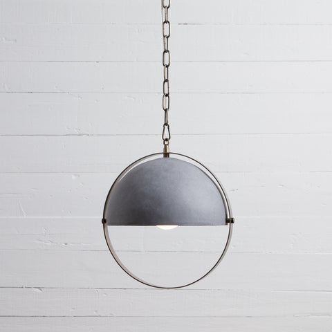 Garrick Pendant concrete shade circular brass ring metal chain