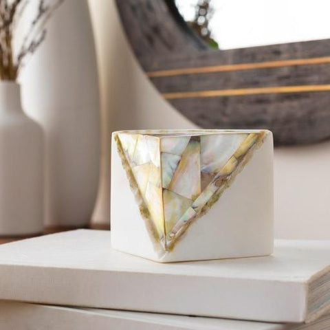 Gemstone Decor white stone brown green mother pearl square accessory main