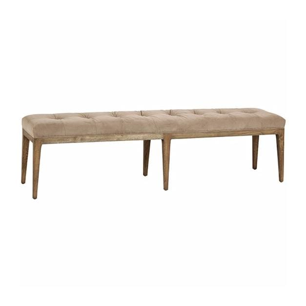 Georgia tufted upholstery oak wood bench