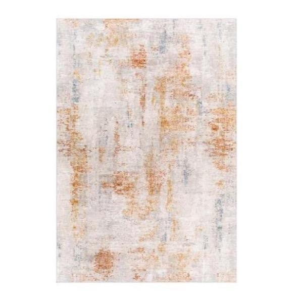 Giada Rug polyester white light grey caramel clay mustard aqua textile hand tufted front view