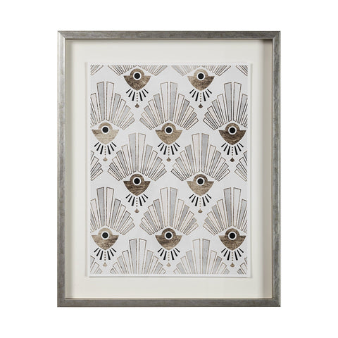 Gold Deco Artwork grey frame gold white black canvas