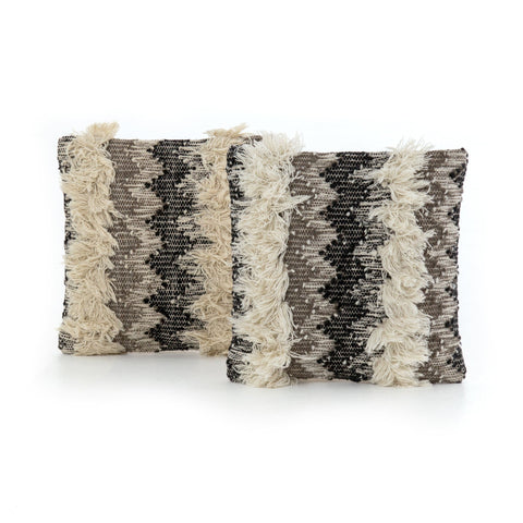 "Grey Multi-Fringe Pillow 18"" with chevron stripes and fringe accent in color of black and cream and grey"