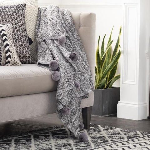 Grey Pom Throw grey acrylic polyester pom thread textile