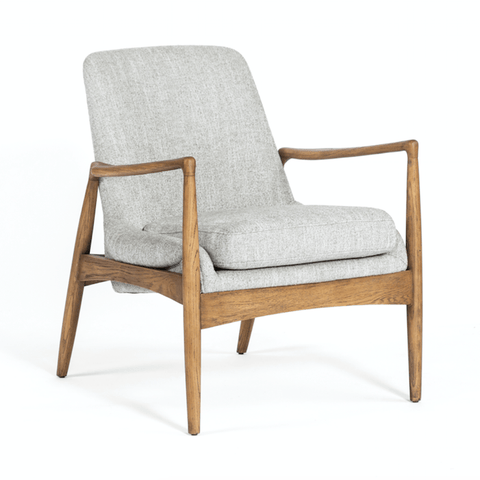 Ontario Armchair in grey polyester upholstery and light brown nettlewood frame