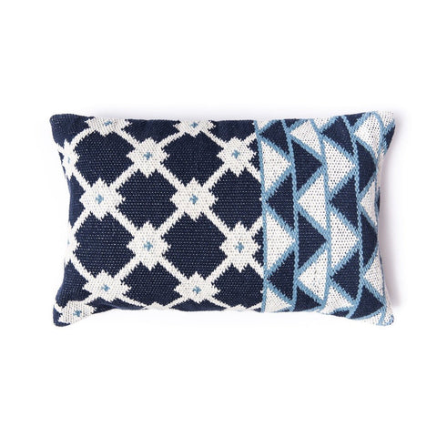 indigo cotton pillow blue