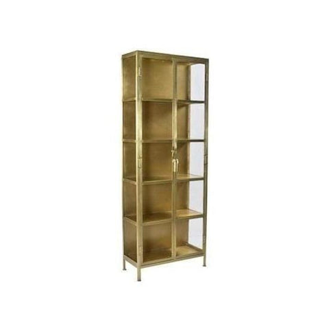 Haisley Cabinet industrial modern antique brass iron frame glass panels