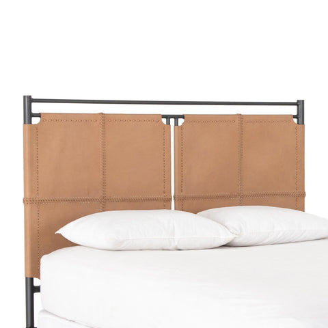 Harriet Headboard brown top grain leather iron gunmetal frame front view