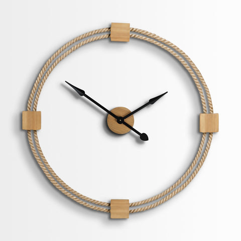 Harter Clock natural brown rope wood frame
