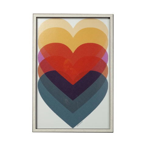 Heart Artwork mid-century modern blue red yellow hearts