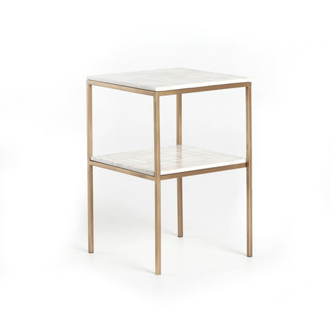 Flynn End Table marble brass white