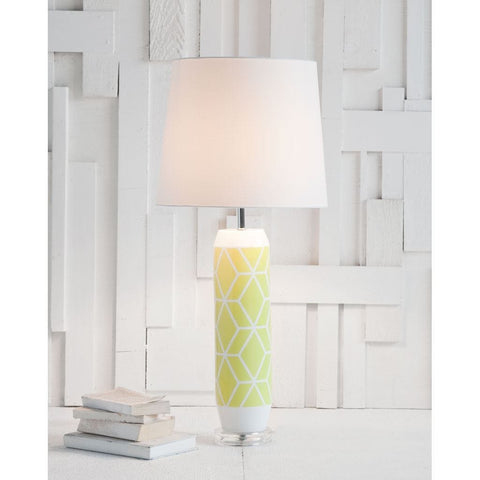 Ivar Table Lamp geo lime yellow pattern ceramic base linen white shade