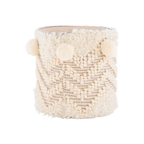 Ivory Pom Basket zig zag design cotton wool blend