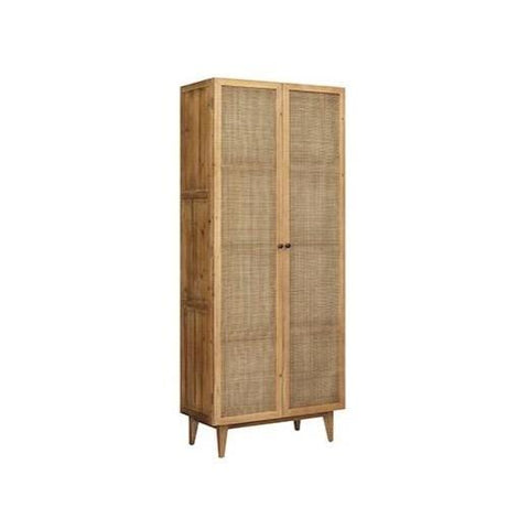 Juno Cabinet honey brown reclaimed pine wood frame rattan cabinets