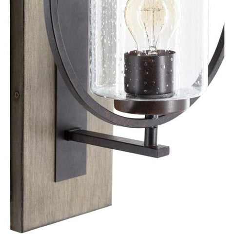 Kara Wall Sconce rustic brown metal natural brown wood