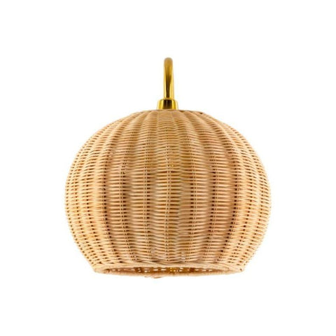 Karson Wall Sconce natural rattan shade gold metal frame decor trendy