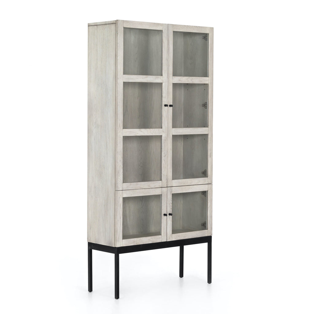Keanu Cabinet white washed oak wood body black iron frame tempered glass front view