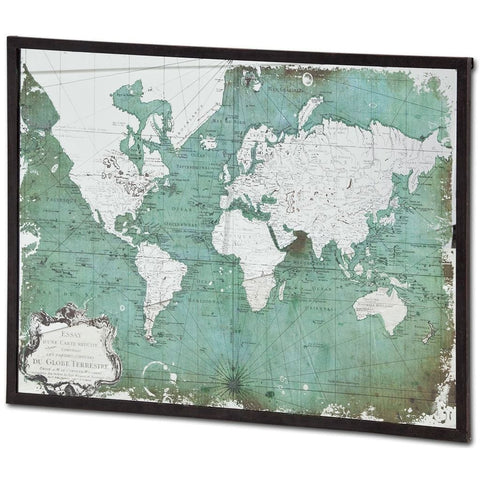 Vintage World Mirror Map mirror map green