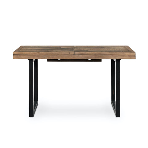 "Korey Extension Dining Table 55"" to 70"" reclaimed wood black iron squared legs industrial sustainable furniture recyled material trendy front view"