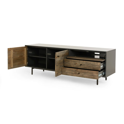 Langer Media Cabinet gunmetal grey exterior reclaimed wood brown doors and drawers industrial modern sustainable furniture front view