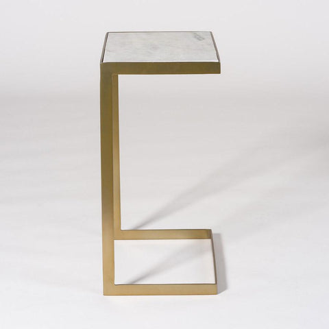 Larkin End Table antique brass metal frame white marble top end table