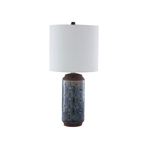 Leati Table Lamp white linen shade blue gloss ceramic gold metal frame