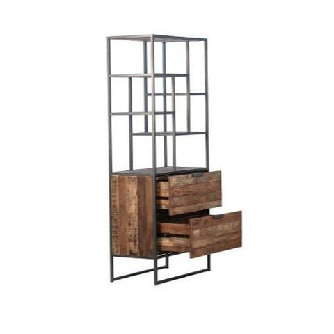 Loma reclaimed 2 wood drawer iron frame cabinet