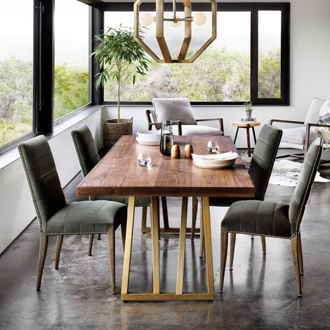 Lowen Dining Table made of walnut wood and brass iron frame