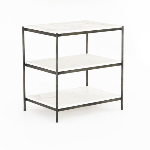Lynne Nightstand in Gunmetal Angled Sideview