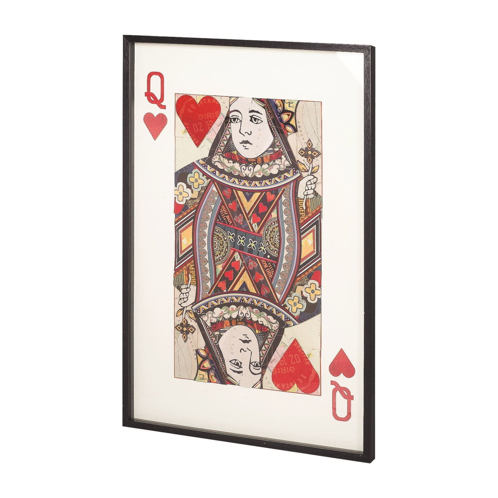 Queen Card wood glass paper collage