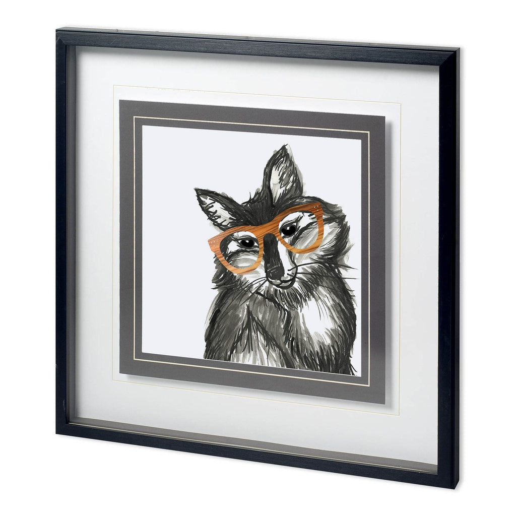 Frannie Fox Print white grey painting orange glasses black wood frame