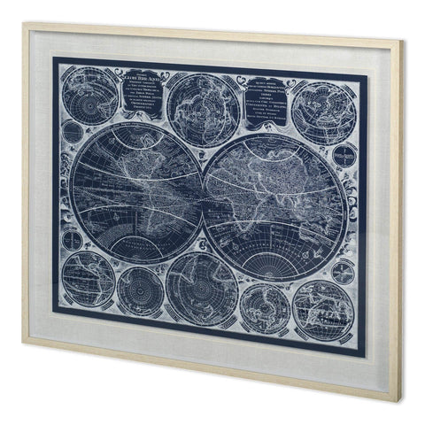 Blueprint Artowrk blue white paper glass painting ivory wood frame