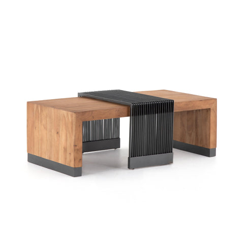 The Malam Coffee Table, Natural Wood, Gunmetal Black, Acacia Wood, Iron, Main View