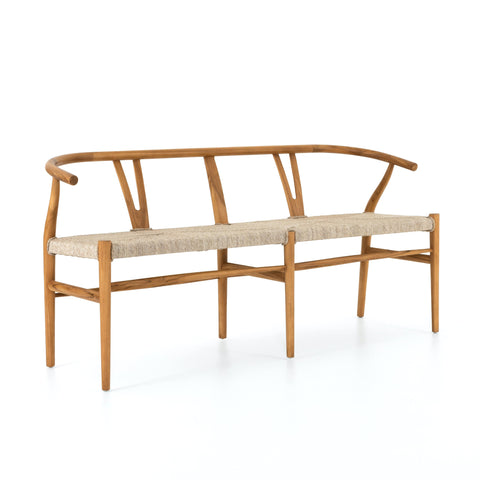 Malia Dining Bench all weather wicker seat natural teak frame front view