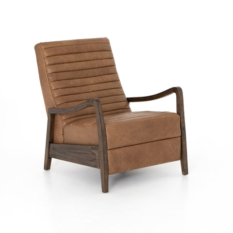 Malone Recliner Chair careml leather channeling curved brown wood frame front view