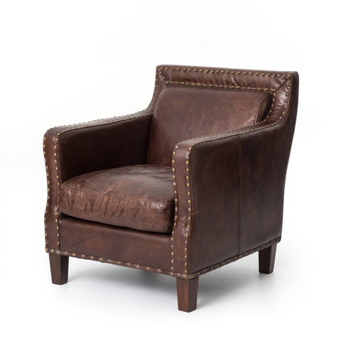 Mack brown leather chair