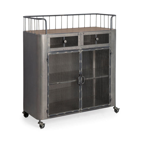 Marston Bar Cart metal gunmetal grey drawers cabinets reclaimed wood plank