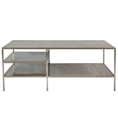 Meisel Coffee Table antique nickel metal finish graystone top
