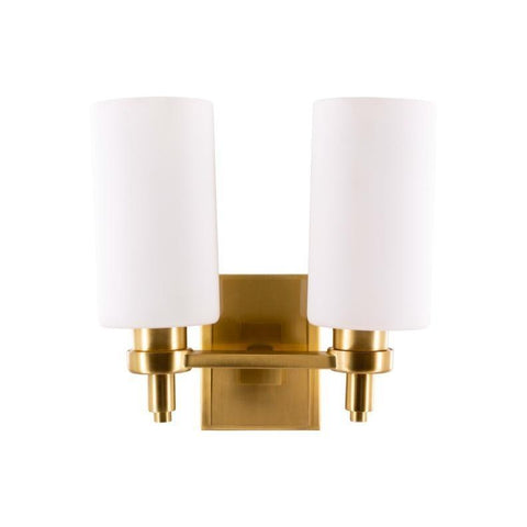 Mica Sconce antique brass metal frame white gloss glass shade trendy wall light fixture