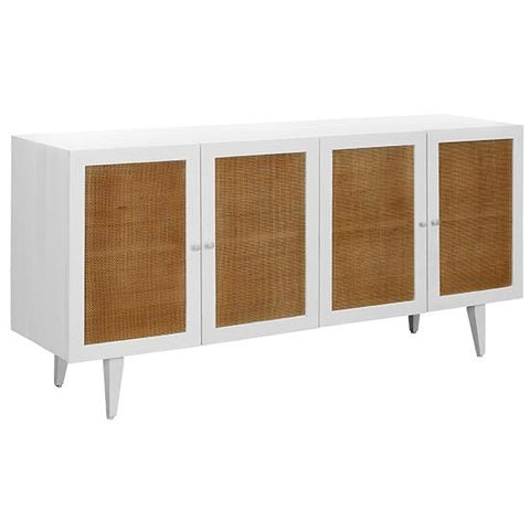 Mino Sideboard white pine wood frame natural brown rattan cabinets