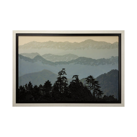 Mountain Artwork in  Cream wood frame, Black and  Multicolored canvas with glass