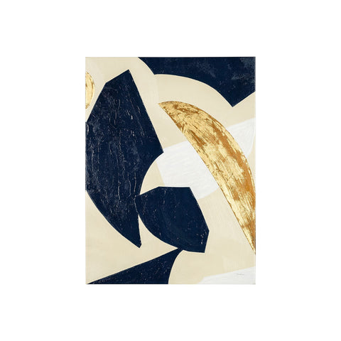 Nali Abstract Artwork blue gold white canvas
