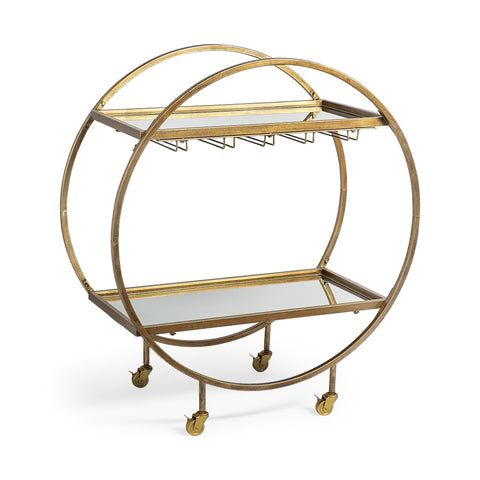 Navi Bar Cart antique brass iron glass shelves