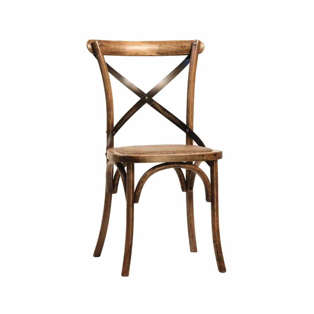 Newell Dining Chair brown wood frame rattan seating traditional
