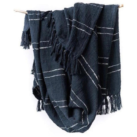 Nila Throw blanket navy cotton shop for a cause