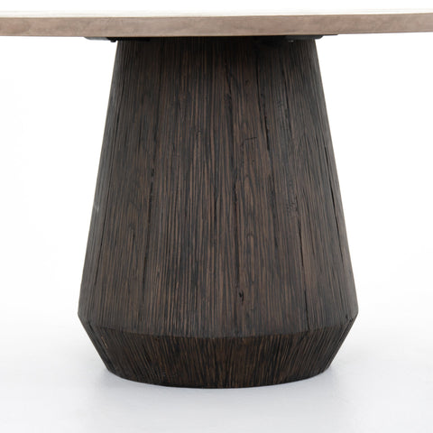 Oakland dining table concrete top and Sungkai Wood base front
