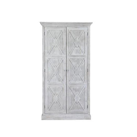 Oden Cabinet white wash reclaimed pine wood diamond x pattern